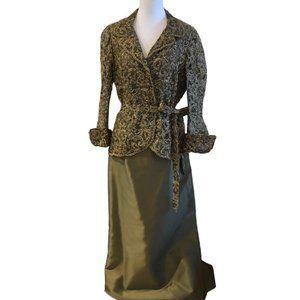 Chetta B Lacey Two-Piece Silk Evening Dress
